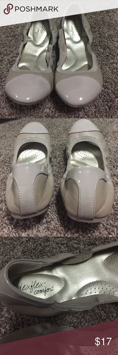 Nude patent leather flats size 10 Nude leather and patent leather flats. One small pin sized scuff on front of patent leather. Otherwise excellent condition.  Worn once. Memory foam inside. Super comfortable and cute!! Shoes Flats & Loafers