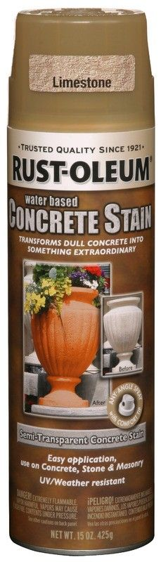 Limestone concrete stain. Great for pots, statutes, etc. I have a concrete bench that could use a little facelift.