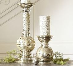 Etched Mercury Glass Pillar Candle Holder, Small traditional-candles ...