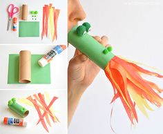 This fire breathing, toilet paper roll dragon is SO MUCH FUN! Blow into the end, and it looks like flames are coming out of the dragon& mouth! Such a cute craft idea for a rainy day! Toilet Paper Roll Crafts, Paper Crafts For Kids, Easy Crafts For Kids, Cute Crafts, Toddler Crafts, Diy Paper, Paper Crafting, Diy For Kids, Crafts To Make