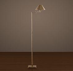 Candlestick Swing-Arm Floor Lamp Vintage Brass with Metal Shade - Restoration Hardware