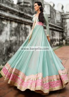 D4620 Amazing Turquoise Anarkali Dress with Super Cute Embroidery For Ladies 2013 by Threads and Motifs Dresses