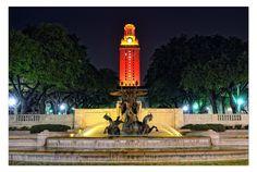 UT fountain & tower at night.