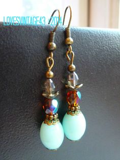 NOW SOLD! Light Turquoise & Antique Bronze Czech Glass Beaded earrings made by LovesVintage43