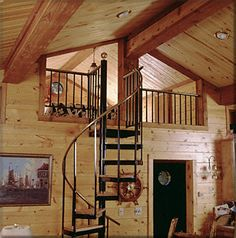 spiral staircase up to loft