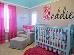 Pink, aqua, and gray chevron nursery. #nursery #aqua #chevron LOVE the big flower letter
