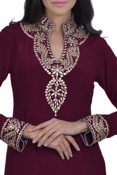 Burgundy Hand Embroidered Gota Patti Pure Crepe Suit