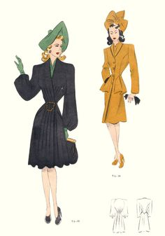 1946 Tailleur Trade Fashion Plates Fashion Design 40s vintage style coat suit jacket black yellow hat shoes color illustration print ad