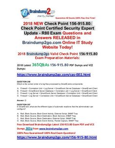 [2018-June-Version]Braindump2go New 156-915.80 Dumps VCE 365Q&As Free Share(266-276) Architecture Exam, 12th Exam, Routing And Switching, Exam Answer, Microsoft Sql Server, Exam Time, Microsoft Dynamics, R80