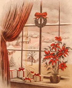 Picture window at Christmas.