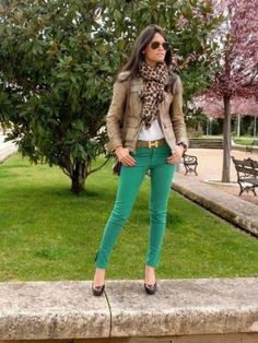 Green skinny with neutral jacket and leopard scarf