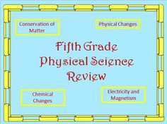This product includes 35 multiple-choice questions presented in powerpoint slideshow format which review conservation of matter, physical changes, chemical changes, electricity, and magnetism. It addresses S5P1, S5P2, and S5P3 standards. $ Physical And Chemical Properties, Positive Comments, 5th Grade Science, Physical Change, Multiple Choice, Fifth Grade, Physical Science, Test Prep, Earth Science