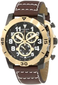 Akribos XXIV Men's AKR430YG Gold Swiss Quartz Chronograph Watch Akribos XXIV. $144.99. Brown leather padded strap with white contrast stitching. Black dial with patterned subdials featuring 60-second, day, and 30-minute timer. Men?s timepiece boasts a brushed stainless steel case with a gold rotating bezel. Water-resistant to 99 feet (30 M). Luminous hands, hour markers, and Arabic numerals. Save 80% Off!