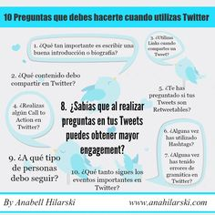10 Preguntas que debes hacerte cuando utilizas Twitter - @AnabellHilarski #Twitter #RedesSociales #Marketing