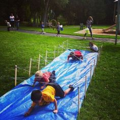 to Ninja Training Camp! Inspired by Tough Mudder - the Barbwire Crawl! Inspired by Tough Mudder - the Barbwire Crawl! Backyard Obstacle Course, Kids Obstacle Course, Backyard Games, Backyard Kids, Outdoor Games, Outdoor Activities, Backyard Camping, Lawn Games, Backyard Playground