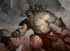 Ruric-Thar, The Unbowed - Gruul Champion for the Implicit Maze. - Art by Tyler Jacobson.