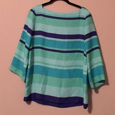 Loft Striped Blouse Green and blue tunic-style blouse. Great, pre-loved condition. LOFT Tops Blouses