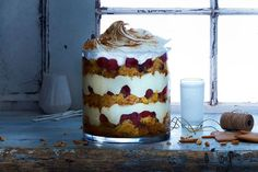 Panettone and eggnog trifle with scorched meringue