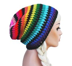 Hey, I found this really awesome Etsy listing at https://www.etsy.com/listing/130233699/rainbow-slouch-beanie-crochet-slouch