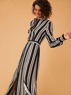 Long-Sleeve Collared Flare Shirt Dress in Harley Stripe Black Online Dress  Shopping 3d5a2d8b461f1