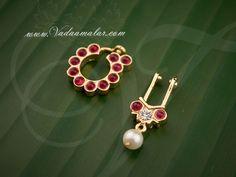 Gold plated Nath Bullak Bharatanatyam Kuchipudi Nose Rings Dance Buy Now Nose Jewelry, Bead Jewellery, Jewelery, Bridal Jewelry Sets, Wedding Jewelry, Bridal Jewellery, Nose Ring Online, Nose Ring Designs, Gold Nose Rings