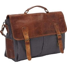 Sharo Large Canvas and Leather Laptop Computer Brief and Messenger Bag... ($120) ❤ liked on Polyvore featuring bags, messenger bags, brown, brown messenger bag, leather computer briefcase, messenger bag, gray messenger bag and laptop briefcase