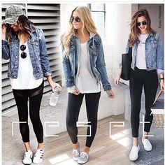Quem já combinou jaqueta jeans com calça preta? Jean Jacket Outfits, Denim Outfit, Chic Outfits, Trendy Outfits, Fashion Outfits, Fashion Tips, Fall Winter Outfits, Spring Outfits, Look Fashion