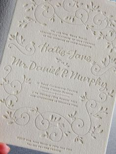 This letterpress wedding invitation from Bella Figura features the Hendrix 2 design and has reply information printed on the bottomo of the . Wedding Paper, Wedding Cards, Our Wedding, Wedding White, Autumn Wedding, Wedding Things, Wedding Bells, Rustic Wedding, Wedding Ideas