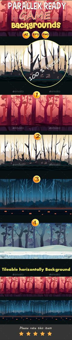 4 Jungle Game Backgrounds — Vector EPS #game assets #app backgrounds • Available here → https://graphicriver.net/item/4-jungle-game-backgrounds/15150060?ref=pxcr