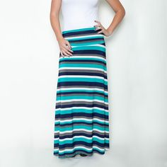 Teal/navy/grey stripe Honey & Lace Maxi Skirts 41% off today on #sheSTEALS