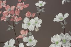 Pretty pink and white flowers on dark brown background