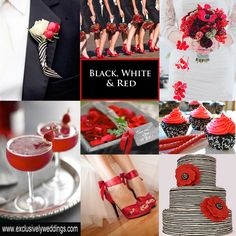 Black, White and Red Wedding Colors - Black and white paired with red is a classic wedding color combination. Vegas Themed Wedding, Wedding Themes, Wedding Ideas, Wedding Stuff, Dream Wedding, Wedding Inspiration, Shower Inspiration, Inspiration Boards, Summer Wedding
