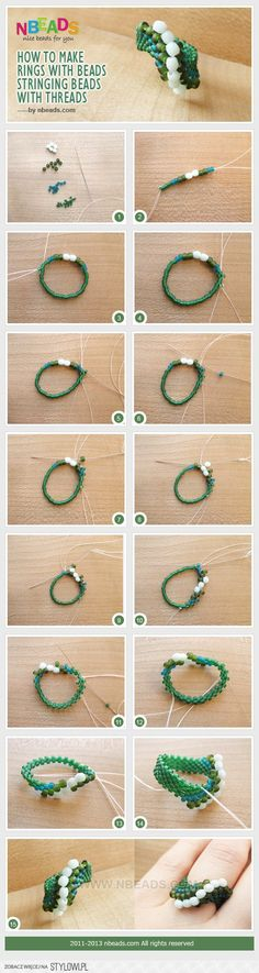 How to Make Rings with Beads-Stringing Beads with Threa… na Stylowi.pl