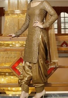 Buy Golden Color Patiala Suit by Akanksha Singh at Fresh Look Fashion Patiala Suit Designs, Patiala Salwar Suits, Salwar Designs, Blouse Designs, Sharara Suit, Salwar Dress, Churidar, Anarkali, Pakistani Bridal Dresses
