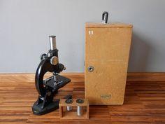 Olympus microscoop in houten koffer