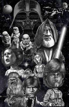 Star Wars Movie Montage caricature poster art print by Battaglioli Studios Silvester Stallone, Alec Guinness, Funny Caricatures, Poster Prints, Art Prints, Cartoon Faces, Detail Art, Star Wars Art, State Art