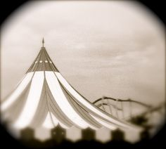 INSPIRED- circus tent with stripes in black and white has a vintage look Fine Art Carnival Photograph, Handmade Philly team  (LD)