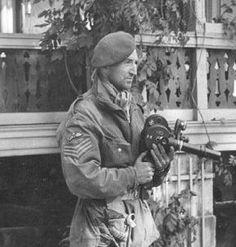 Arnhem Sgt Jock Walker, AFPU, pictured outside the Hartenstein Hotel, Oosterbeek, September 1944