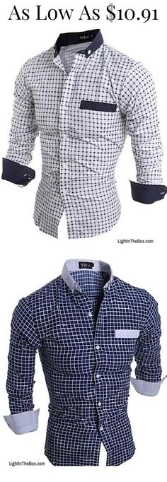 YUNY Mens Twill Original Fit Check Two Front Pockets Woven Shirt Navy Blue L
