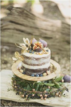 fig topped cake, photo by Ronel Kruger Photography http://ruffledblog.com/south-african-wine-estate-inspiration #weddingcake #cakes