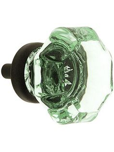 Glass knobs and Pulls. Octagonal Pale Green Glass Knob With Brass Base