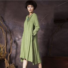 Women's long sleeve loose pullover cotton dress