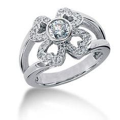 European Engagement Ring - Heart Flower Diamond Ring in 14 Karat White Gold - Heart Engagement Rings, Mom Ring, 14 Carat, Diamond Anniversary Rings, Latest Jewellery, Ring Designs, Wedding Jewelry, Jewelry Rings, Rings For Men