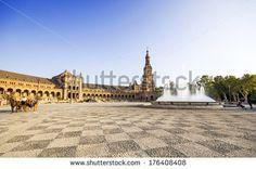 Spanish Square (Plaza de Espana) in Sevilla, Spain - stock photo