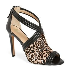 "Joe's 'Dexter' Pump, 4"" heel ($155) ❤ liked on Polyvore featuring shoes, pumps, black leopard calf hair, peep toe pumps, black pumps, peep toe shoes, leopard pumps y black peep toe shoes"