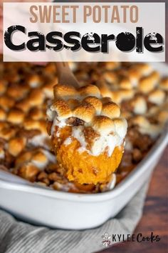 Sweet Potato Casserole is a wonderful combination of sweet potatoes, brown sugar, and an ooey-gooey topping of marshmallows and pecan streusel! #sweetpotato #holiday #thanksgiving #marshmallow #kyleecooks