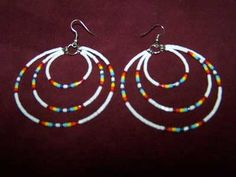 native american beadwork patterns and designs | Hand Beaded Three Hoop Earrings (Non-Indian Made)