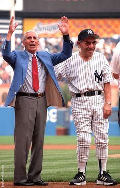 Phil Rizutto and Yogi Berra at a NY Yankees Old Timers Game.