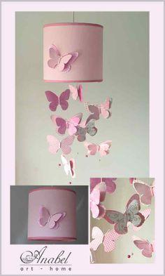 lámpara infantil Anabel art-home. Lámpara móvil mariposas, Rosa. Rose. Lamps. Shadelamps. Abat-jours