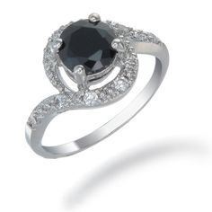 2 CT. Black Diamond Ring in Sterling Silver (Available in Sizes 5 - 9) -